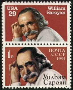 William Saroyan commemorative stamps from the U.S., and U.S.S.R.