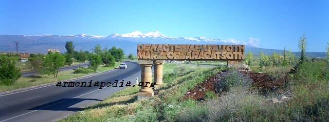 Aragatsotn Marz monument with Mt. Aragats in background